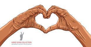 手在心脏形成,非洲种族,详细的传染媒介illustra 免版税图库摄影