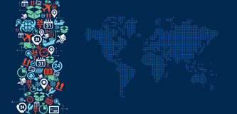 Illustra d'éclaboussure d'icônes de carte du monde de logistique d'expédition Photos libres de droits