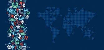 Illustra della spruzzata delle icone della mappa di mondo di logistica di trasporto Fotografie Stock Libere da Diritti