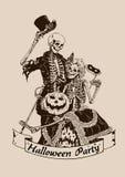 Illustra do vetor do partido do cartaz do Dia das Bruxas da abóbora dos esqueletos do vintage Fotos de Stock