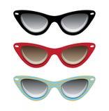 Illustra för svart för katt röd och blå glasögonvektor, Arkivfoton