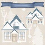 Illustra retro de la imagen del invierno de la naturaleza del diseño de la Navidad del fondo Fotografía de archivo