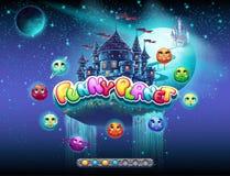 Illustra un esempio dello schermo di caricamento per un gioco di computer sull'argomento di spazio e dei pianeti allegri C'è una  illustrazione di stock