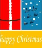 Illustraation di vettore carta gretting con il Buon Natale del testo immagini stock