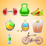 Illustraion των καθορισμένων διαφορετικών αντικειμένων για τον αθλητισμό Διανυσματική απεικόνιση