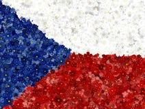 Illustraion da bandeira checa com um teste padrão da flor Ilustração do Vetor