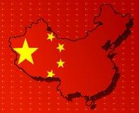 Illustraion de uma bandeira chinesa Imagens de Stock