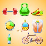 Illustraion of set different objects for sports Royalty Free Stock Photo