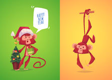 Illustraiton of comical monkey series Stock Images