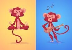 Illustraiton of comical monkey series Stock Images