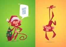 Illustraiton van komische aapreeks Stock Afbeeldingen