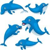 Illustratör av den gulliga delfin Arkivbilder