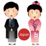 Illustratör av den Japan pojke- och flickavektorn som isoleras på vit bakgrund royaltyfri illustrationer