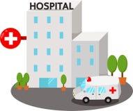 Illustratör av sjukhusbyggnader Arkivfoto