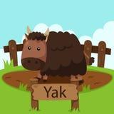 Illustratör av Yak i zoo Royaltyfri Bild