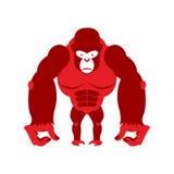 可怕的大猩猩大和 强的红色恼怒的猴子 传染媒介illustrat 库存图片
