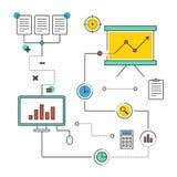 Illustrat liso infographic do projeto da analítica dos dados comerciais Fotografia de Stock Royalty Free
