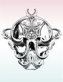 Illustrat maciullato del cranio del grunge Fotografie Stock Libere da Diritti