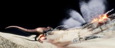 Illustratation 3d de alta resolução extremamente detalhado e realístico de um dinossauro de T-Rex durante a extinção dos dinossau ilustração stock