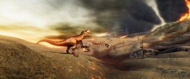 Illustratation 3d de alta resolução extremamente detalhado e realístico de um dinossauro de T-Rex durante a extinção dos dinossau ilustração do vetor