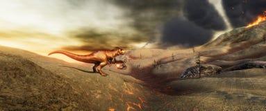 Illustratation 3d de alta resolução extremamente detalhado e realístico de um dinossauro de T-Rex durante a extinção dos dinossau ilustração royalty free