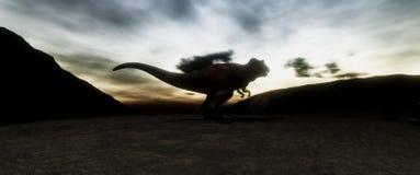 Illustratation de haute résolution extrêmement détaillé 3d et réaliste d'un dinosaure de T-Rex pendant l'extinction de dinosaures illustration de vecteur