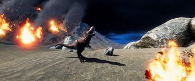 Illustratation di alta risoluzione estremamente dettagliato e realistico 3d di un dinosauro di T-Rex durante l'estinzione dei din royalty illustrazione gratis