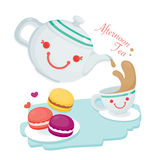 Illustrate of Cute Afternoon Tea. Afternoon Tea.Cute Tea Pot and A cup of tea served with A lot of cute Macaroons Stock Images