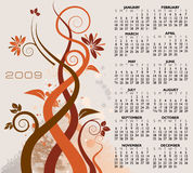 Illustrated 2009 Calender. A 2009 calender design with all 12 months included in 1 sheet. Design includes brown vines with flowers and leaves Stock Photos