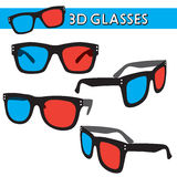 Illustrated  3D glasses Stock Photos