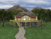 Illustrated 3d log home Royalty Free Stock Photography