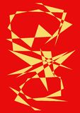 Illustrated abstract background. Illustrated red abstract background with abstract yellow patterns royalty free stock image