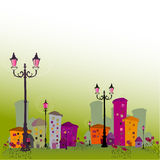 Illustrated abstract city Stock Photo