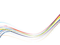 Illustrated abstract rainbow line background. Illustrated abstract background with flowing blue lines with copy space Royalty Free Stock Photography