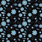 Illustrated abstract seamless floral background, blue on black b. Ackground, repeat pattern vector illustration