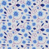 Illustrated abstract seamless floral background, blue on light b Royalty Free Stock Images