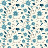 Illustrated abstract seamless floral background, blue and yellow. Repeat pattern stock illustration