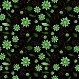 Illustrated abstract seamless floral background, green on black. Background, pepeat pattern Stock Photography