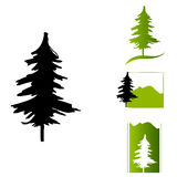 Illustrated abstract tree icons Stock Photo