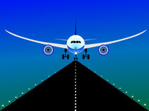 Illustrated airplane. Vector illustration of airplane landing Stock Photos