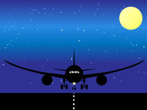 Illustrated airplane. Vector illustration of airplane landing Royalty Free Stock Photo
