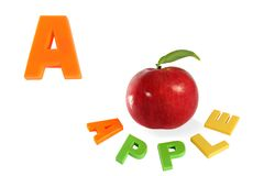 Illustrated alphabet letter A and apple. Royalty Free Stock Photo