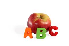 Illustrated alphabet letter A and apple. Stock Photos