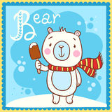 Illustrated alphabet Letter B and bear. Royalty Free Stock Image