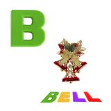Illustrated alphabet letter B and bell on white Royalty Free Stock Photos