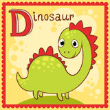 Illustrated alphabet letter D and dinosaur. Royalty Free Stock Photos