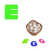 Illustrated alphabet letter e and eggs on white Stock Images