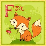 Illustrated alphabet letter F and fox. Stock Images