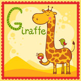 Illustrated alphabet letter G and giraffe. Stock Photo