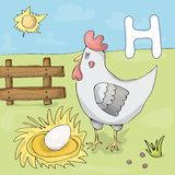 Illustrated alphabet letter H and hen. ABC book image vector cartoon. Hen with egg on a farm royalty free illustration
